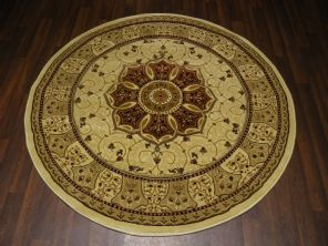 Woven Backed Circle Ivory/Red Traditional Carved Rug 150cm x 150cm Circular Top Quality